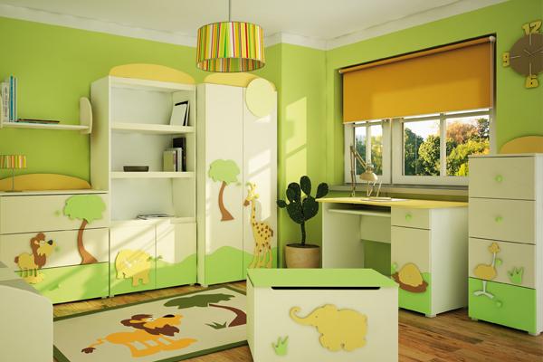 zielony pok j dzieci cy projekt pokoju dla dziecka pok j dla dziecka. Black Bedroom Furniture Sets. Home Design Ideas